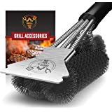 GRILLME Grill Brush with Nylon Bag and Attached Scraper, 18 Inches Sturdy Handle and Long Lasting BBQ Brush with Triple Power