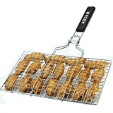 Genovation Portable Stainless Steel BBQ Barbecue Grilling Basket for Fish,Vegetables, Steak,Shrimp, Chops and Many Other Food
