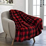 PAVILIA Flannel Fleece Throw Blanket Sofa Couch | Super Soft Velvet Plaid Pattern Checkered Decorative Throw | Warm Cozy Ligh