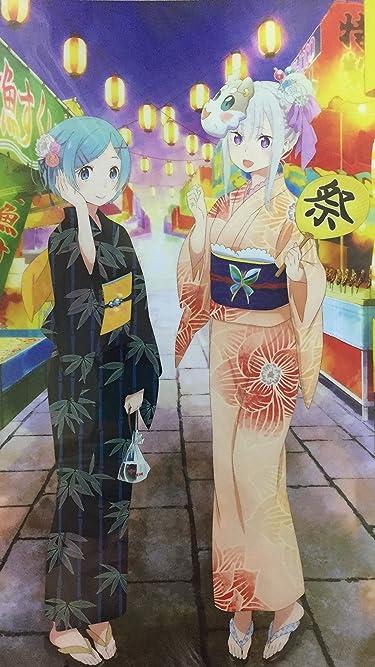 Re:ゼロから始める異世界生活  iPhone/Androidスマホ壁紙(1080×1920)-1 - エミリア & レム 夏祭りver.
