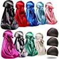 ForceWave 12 Pieces Silky Durag for Men Women Satin DuRags for 360 Waves