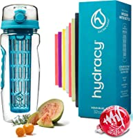 Hydracy Fruit Infuser Water Bottle - 32 Oz Sports Bottle - Full Length Infusion Rod, Time Marker & Insulating Sleeve +...