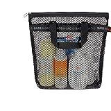 バッグインバッグポータブルシャワーメッシュキャディバッグ クイックドライ ハンギング洗面用品 バスオーガナイザー 旅行や…