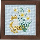 LECIEN (ルシアン) 刺しゅうキット かわいいどうぶつと季節のお花 フレーム付きクロスステッチキット きつねとすいせん 861