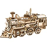 ROBOTIME Clockwork Gear Drive Locomotive 3D Wooden Model Building Kits Toys Hobbies  Children Adult