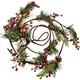 Christmas Pine Pine cone and Red Berry Garland Decorations 8 Feet Faux Holiday Winter Artificial Green for Kitchen Indoors Ou