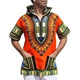 Full Funk Dashiki Light Hoody in Bright Colors Festival Party Shirt Short Sleeve