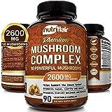 NutriFlair Mushroom Supplement 2500mg - 90 Capsules - 7 Organic Mushrooms - Reishi, Lions Mane, Cordyceps, Chaga, Turkey Tail