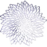 Set of 6, Silver Metallic Vinyl Round Placemats Laminated Plastic Morden Dining Table Decoration, Leaf by Snowkingdom