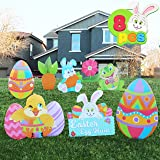 JOYIN 8 Pieces Easter Yard Signs Decorations Outdoor Bunny, Chick and Eggs Yard Stake Signs Easter Lawn Yard Decorations for