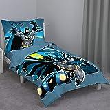 Batman - Blue Yellow & Grey 4Piece Toddler Bed Set - Comforter, Flat Top Sheet, Fitted Bottom Sheet, Reversible Pillowcase, B