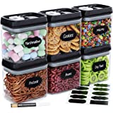 Chef's Path Airtight Food Storage Container Set - 6 PC Set/All Same Size - 10 Labels & Marker - Kitchen & Pantry Dry Food Con