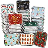 """40 Pieces Christmas Foil Containers with Lid, 8 Holiday Designs, 7""""x5.5""""x2"""", Christmas Small Gift Bags Santa Sacks,"""