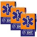 EMT Vital Notebook (3-Pack) - Includes 3 Pens, 140 Waterproof Pages/Notepad. Designed for Emergency First Responders, EMS Med
