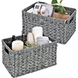 GRANNY SAYS Hand-Woven Storage Baskets, Imitation Wicker Baskets for Organizing, Rectangle Baskets with Handles for Shelves,