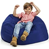 Delmach Bean Bag Stuffed Animal Storage | 100% Cotton Canvas (Blue) | Toy Storage Bag | Bean Bag Cover | Cool Kids Chair | Ro