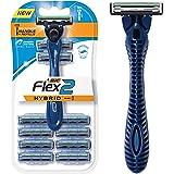 BIC Flex 2 Hybrid Men's 2-Blade Disposable Razor Shaving Kit, 1 Handle and 10 Cartridges