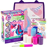 B Me DIY Unicorn Latch Hook Kit for Girls - Mini Rug Sewing Set with 15 Colorful Yarn Bundles, Color-Coded Canvas, DIY Grils