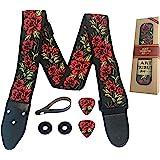 Guitar Strap Cotton Flower Roses W/FREE BONUS- 2 Picks + Strap Locks + Strap Button. For Bass, Electric & Acoustic Guitars. T