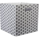 """DII Hard Sided Collapsible Fabric Storage Container for Nursery, Offices, & Home Organization, (13x13x13"""") - Honeycomb Gray"""
