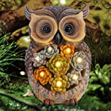 FORUP Owl Garden Statue, Resin Owl Figurine Garden Lawn Ornaments with Solar LED Lights for Outdoor Yard Garden Decorations
