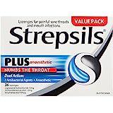 Strepsils Plus Anaesthetic Sore Throat Numbing Pain Relief Lozenges (36 Pack)