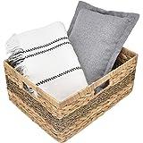"StorageWorks Jumbo Rectangular Wicker Basket, Water Hyacinth and Seagrass Storage Basket with Built-in Handles, 16.5"" x 13"" x"