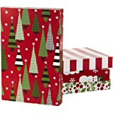Hallmark Christmas Gift Box Assortment - Pack of 12 Patterned Shirt Boxes with Lids for Wrapping Gifts