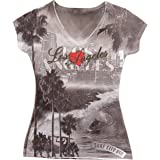 Sweet Gisele Los Angeles Cali Inspired Rhinestone Bling V Neck LA T-Shirt Women