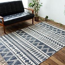 ネイティブ柄 洗える 手織り 西海岸 風 ハンドメイド ラグ マット インド製 たためる