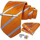 DiBanGu メンズ ネクタイ ストライプ シルク ネクタイ ハンカチ カフスボタン セット ビジネス