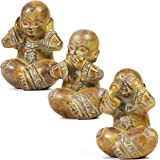 Juvale Decorative Meditating Buddha Statue Set (4.7 in, 3 Pack)