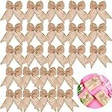 30 Pieces Burlap Bows Burlap Bow Knot Handmade Burlap Decorative Bowknot Natural Ornament Bow for Christmas Decorate Tree Fes