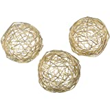 Gold Metal Band Decorative Dining Ball Set of 3 - Geometric Sculptures Dining/Coffee Table Centerpiece for Wedding Table Deco