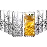 Clovelly Tall Highball Glasses Set of 8, 12 Ounce Cups, Textured Designer Glassware for Drinking Water, Beer, or Soda, Trendy