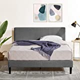 Zinus Nelly Queen Bed Frame Fabric Upholstered Platform Contemporary Mattress Support - Dark Grey