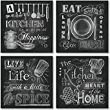 Beautiful Fun Chalkboard-Style Kitchen Signs; Messy Kitchen Heart of the Home Spice of Life and Cook Much; Four 12x12in Paper