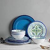 Melamine Dinnerware Set for 4, 12pcs Break-Resistant Bowls and Plates Set for Camper Use, Service for 4, Dishwasher Safe, Ind