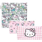 Bumkins Sandwich Bags/Snack Bags, Reusable Fabric, Washable, Food Safe, BPA Free - Sanrio Hello Kitty (3-Pack)