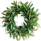 SKOLOO Olive Branch Greenery Wreath, Small Green Wreath for Front Door or Indoor, Door Wreaths for All Seasons, Mini Wreaths