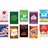 Seasonal Garden Flag Set of 10 for Outdoors - 10 Pack Assortment of 12 x 18 inch Large Holiday Yard Flags - Double Sided Colo