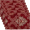 Grelucgo Double Thickness Burgundy Damask Table Place-mats (12 x 18 inch) Set of 6