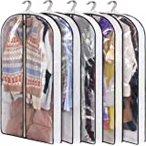 """KIMBORA Suit Bag with 4"""" Gussetes Garment Bags for Closet Storage Hanging Clothes Cover 5 Packs for Coats Sweaters Shirts, Wh"""