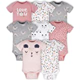 Gerber Baby Girls' 8-Pack Short Sleeve Onesies Bodysuits