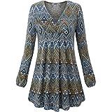 MOQIVGI Women's V Neck Long Sleeve Fashion Casual Blouse Top A-line Flowy Tunic Shirt