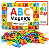 Pixel Premium ABC Magnets for Kids Gift Set - 142 Magnetic Letters for Fridge, Dry Erase Magnetic Board and FREE e-Book with