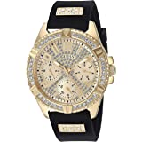 GUESS Comfortable Gold-Tone + Black Stain Resistant Silicone Watch with Day, Date + 24 Hour Military/Int'l Time. Color: Black