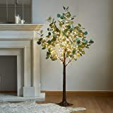LITBLOOM Lighted Eucalyptus Tree 4FT 160 LED Artificial Greenery with Lights for Wedding Party Holiday Christmas Decoration