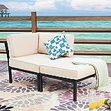 LOKATSE HOME 2 Piece Patio Furniture Set Sectional Balcony Corner Outdoor Loveseat Couch Armchiar Sofa with Ottoman Metal Ste