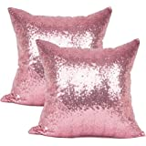 YOUR SMILE Pack of 2 New Luxury Series Pink Decorative Glitzy Sequin & Comfy Satin Solid Throw Pillow Cover Cushion Case 17""